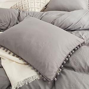 Light Grey Pom Poms Pillowcases