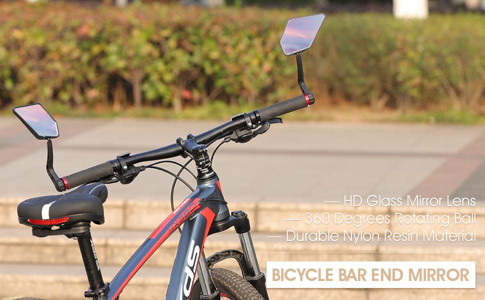 1 Pair Bicycle Handlebar Rearview Mirror Rotating MTB Cycling Safety 4 Colors