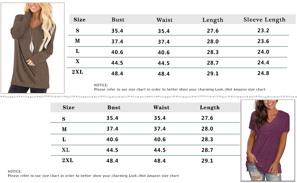 V Neck Tunics for Women Long Sleeve Fall Dressy Tops Loose Fit