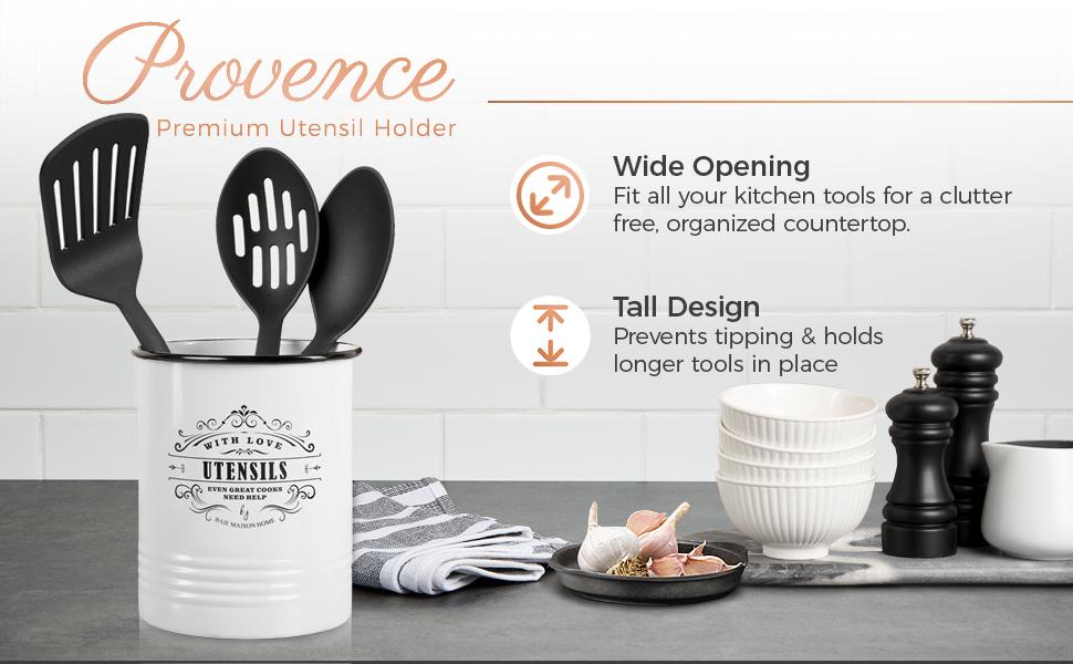 large white farmhouse kitchen utensil holder for countertop utensil organizer crock rustic caddy