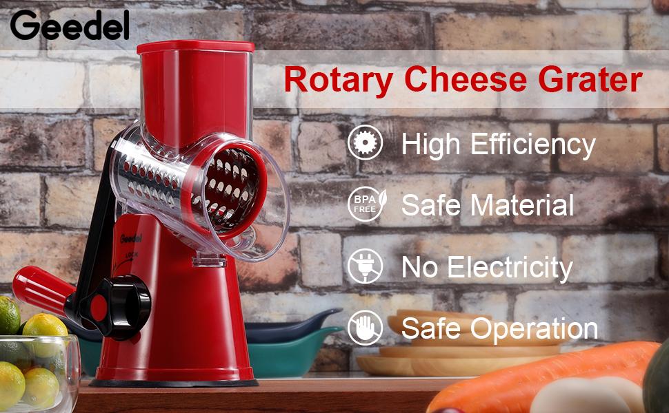 Geedel Rotary Cheese Grater Shredder Vegetable Slicer