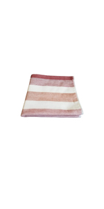 IPPINKA Senshu Japanese Wash/Face Towel, Ultra Soft, Quick-Drying, Two-Tone Stripes, Red