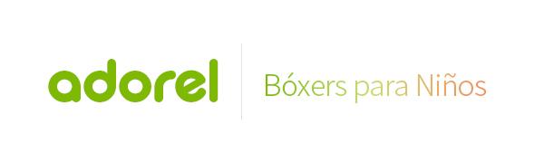 El logo de Adorel en verde y bóxers para niños en degradado.