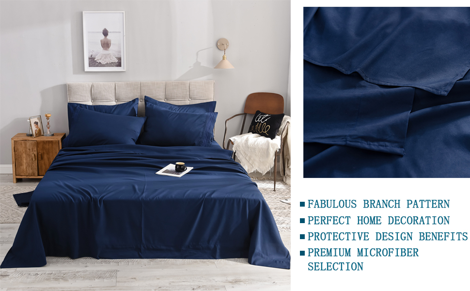 6-Piece Bed Sheets Set Microfiber 1800 Thread Count Percale | 16 Inch Deep Pockets 2