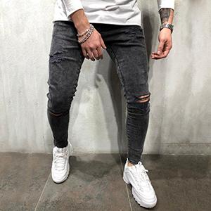 tapered rip fashion men young torn cut straight vintage black regular fitted athletic designer denim