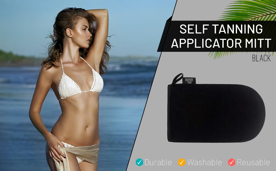 Bronze Tan Velvet Self Tanning Applicator Mitt For An Even Streak-Free Sunless Tan