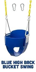 Blue High Back Full Bucket Toddler Swing Seat