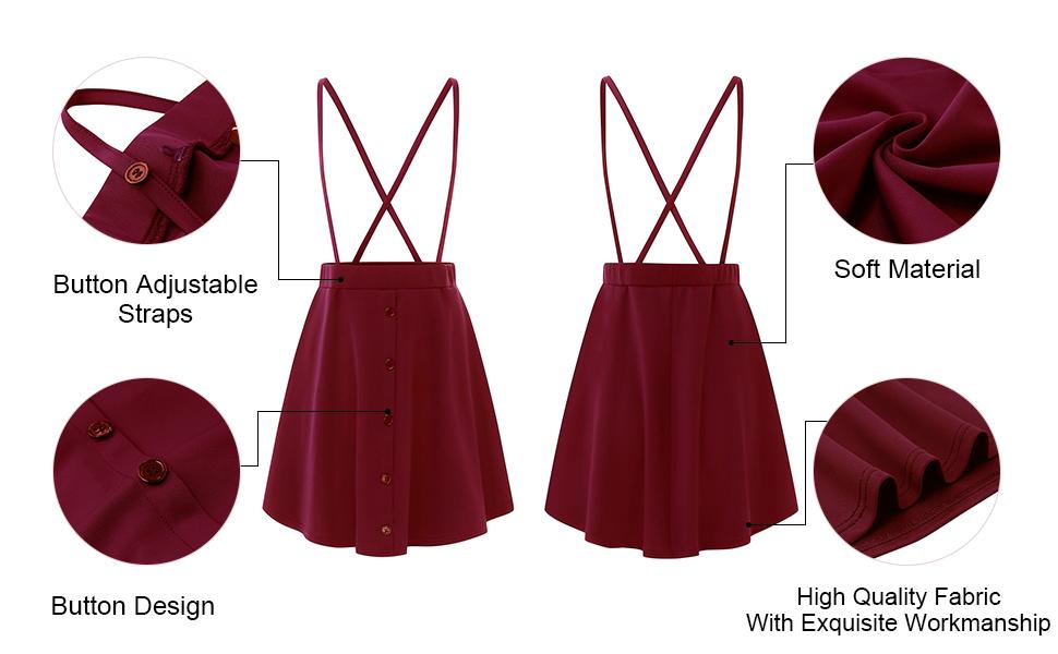 details for button design suspender skirts