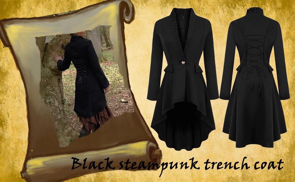Steampunk Victorian Gothic Jacket Steampunk Jacket Tailcoat Swing Coat Punk Blazer Coat Festival