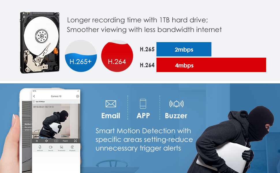 H 265+ Video Compression and Customize Motion Detection Plan& Instant Email &APP Alerts