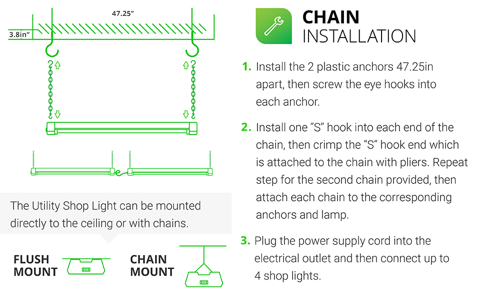 LED Utility Shop Light,Linkable Integrated Fixture,Frosted Lens,Surface+Suspension Mount, Pull Chain