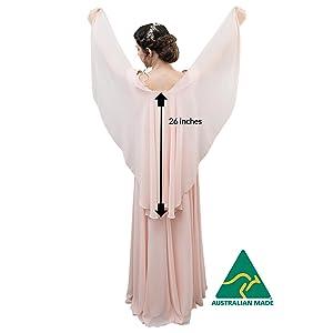 Chiffon shawl back measurement