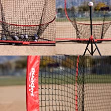 baseball net with tee and balls