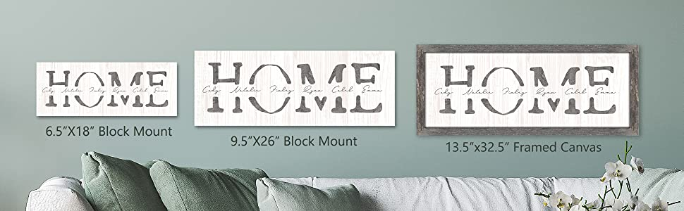 Home personalized sign gift size comparison