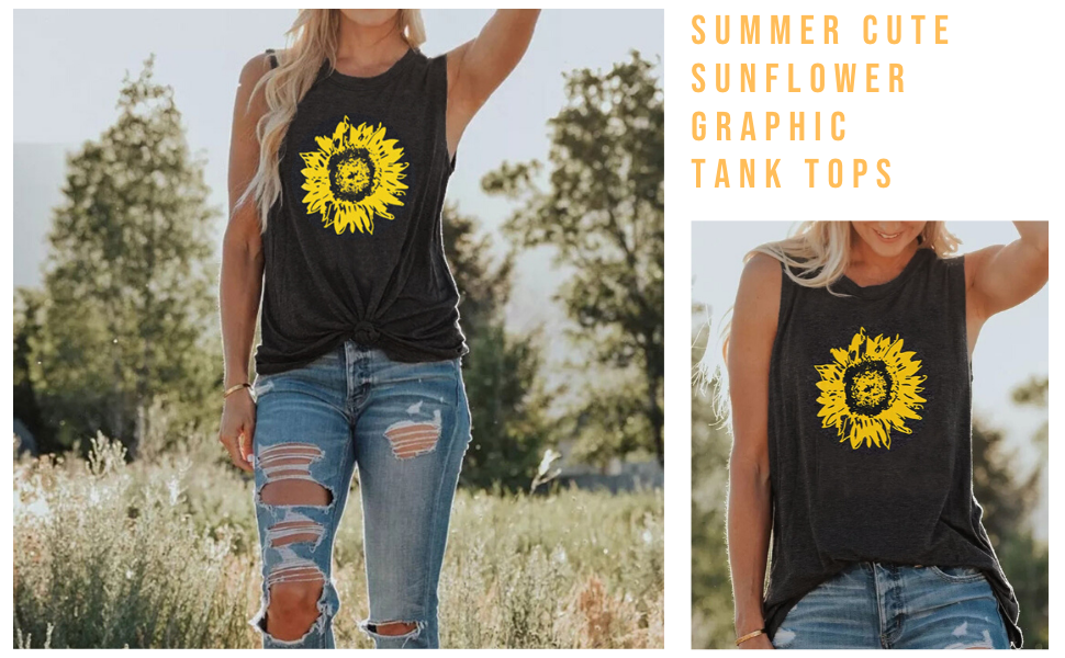 Summer Sunflower Graphic Tank Tops for Women Graphic Tank Top Sleeveless Graphic Tee Shirts Tank Top