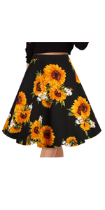 Women's Vintage Skirts Floral Print Casual Midi Skirt