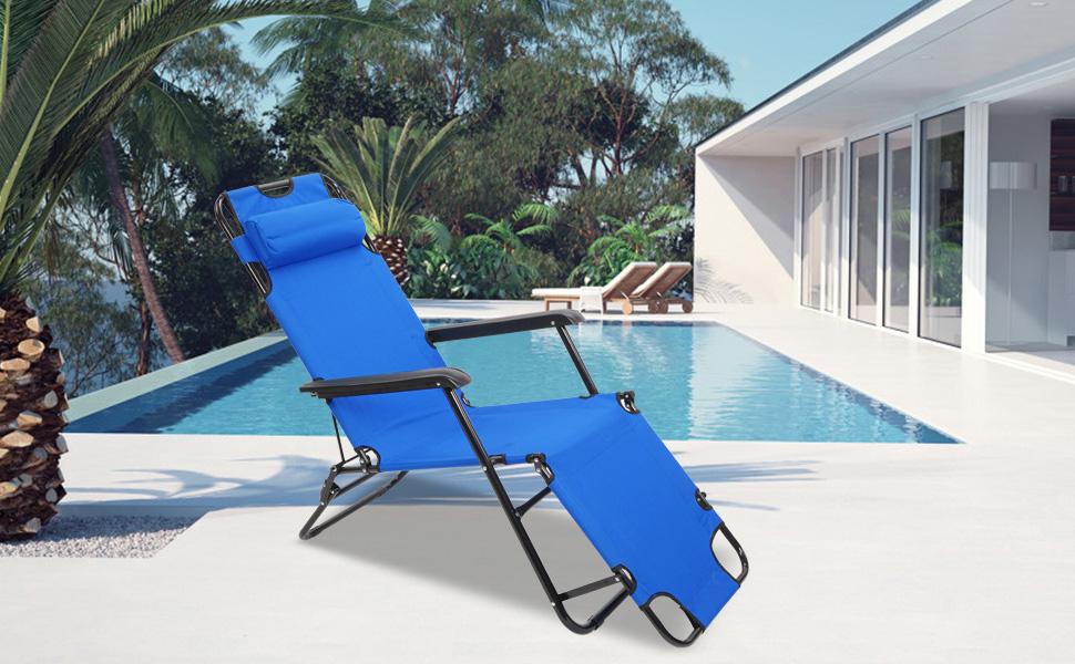 Tenozek Folding Beach Lounge Chair, Portable Outdoor Zero Gravity Chair Camping Reclining Chairs Patio Pool Beach Chaise Lawn Recliner (2 Pieces,