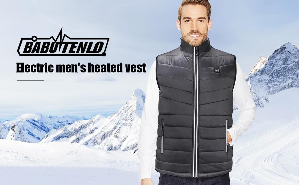Babutenlo Electric Mens Heated Vest Polar Fleece Winter Waistcoat Lightweight Heating Vest for Outdoor Sports