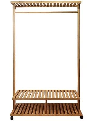Bamboo Clothes rack standing with no clothes or shoes on it