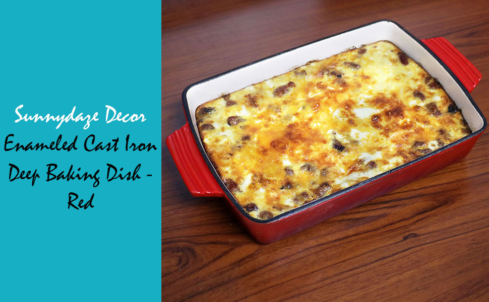 Enameled Cast Iron Deep Baking Dish - Red