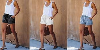 Casual Saddleback Pocketed Frayed Tencel Shorts Comfy Drawstring Elastic Waist Pocketed Shorts