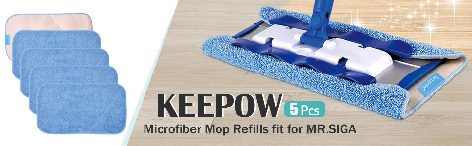 KEEPOW 5 Microfiber Mop Refills for MR.SIGA, Double side use, Wet amp; Dry Mopping