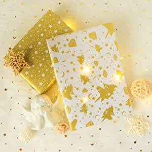 """26/"""" x 20/"""" Unicorn /& Star Pattern Tissue Gift Wrap Paper 40 Sheets Metallic Gold Premium Quality Recyclable Bulk for DIY Art Craft Decoration Wedding Bridal Birthday Party Baby Shower by BllalaLab"""