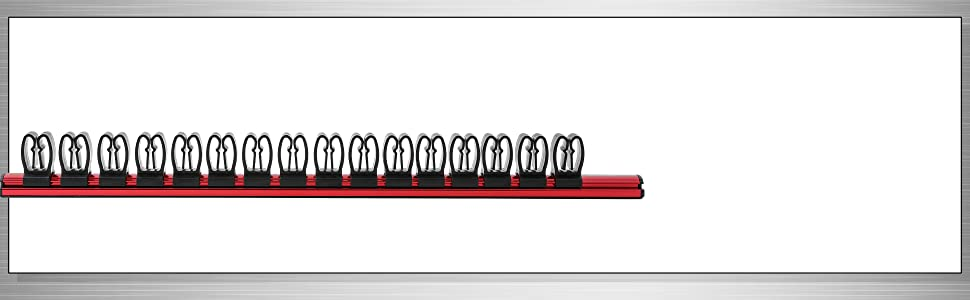 Red Magnetic Screwdriver Organizer - Aluminum Rail Stores up to 16 Screwdrivers or Small Tools