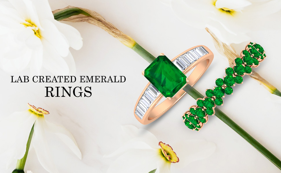 banner Lab Created Emerald Rings
