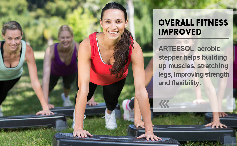 arteesol Aerobic Step Stepper Exercise Step Platform Adjustable 3 Level Non-Slip Surface Workout Stepper Shock-Absorb Fitness Training Step Strong Grip with Risers