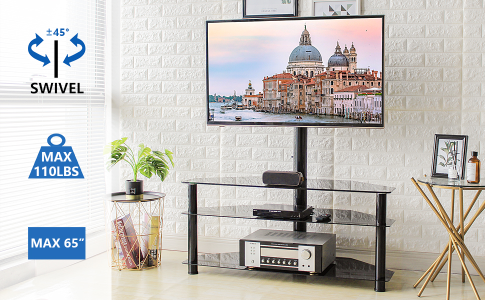 glass corner tv stand for 32-65 inch tv