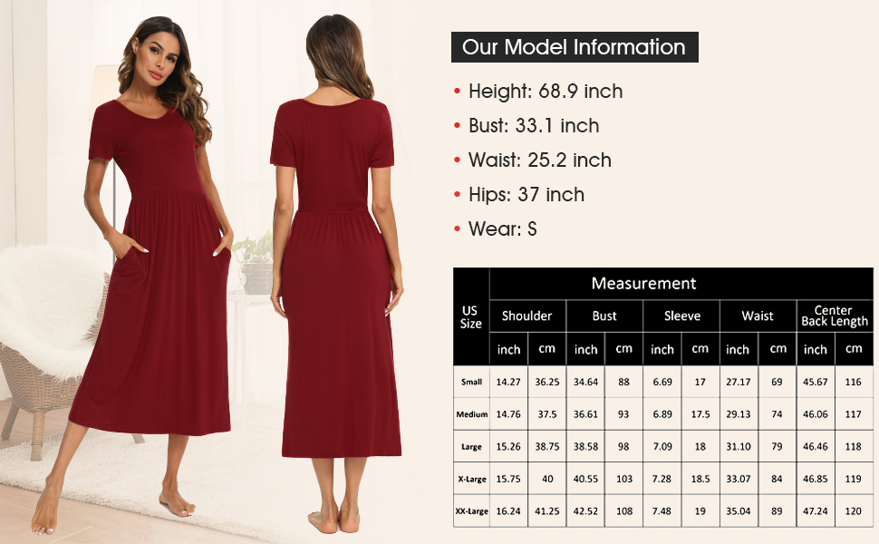 Womens Soft Nightgown Waisted nightshirts  plus size Cheap Waist Sleep Dresses Pockets Sleepwear