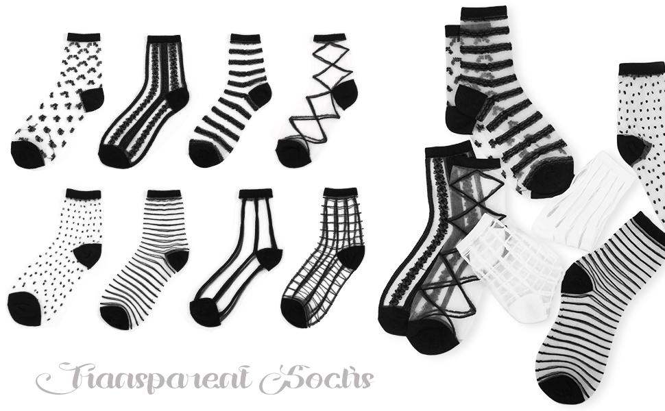 Sheer Tulle Transparent Socks Black or White Socks