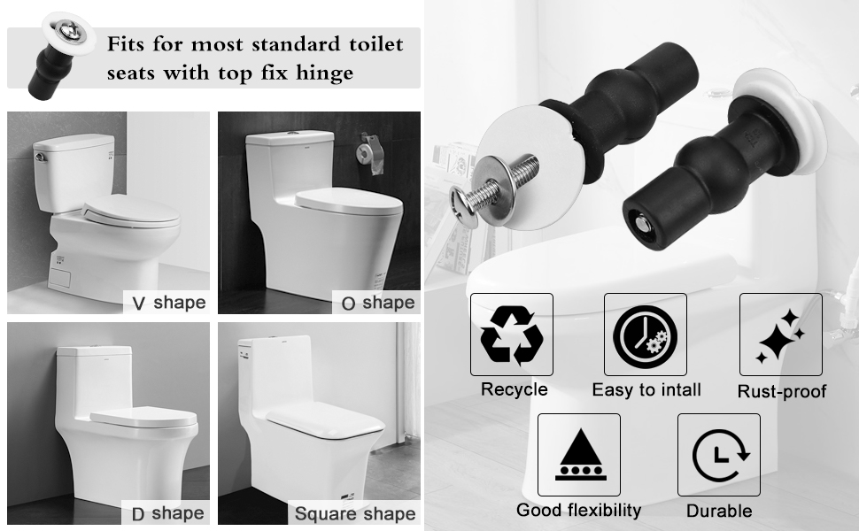 FITTINGS FOR TOILET SEATS NO SLIP STOP MOVING LOOSE TOILET LOO SEAT