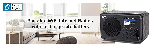 Ocean Digital Wi-Fi Internet Radios Portable Digital Radio with Rechargeable Battery