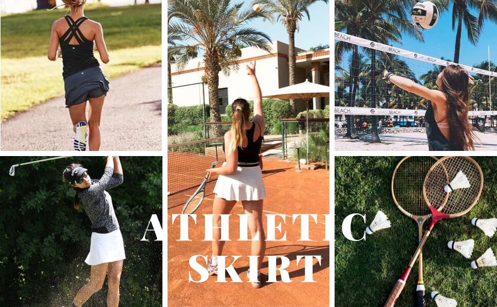 Ekouaer Tennis Skorts for Women Lightweight Black Skirt for Running Tennis Golf Workout Sports