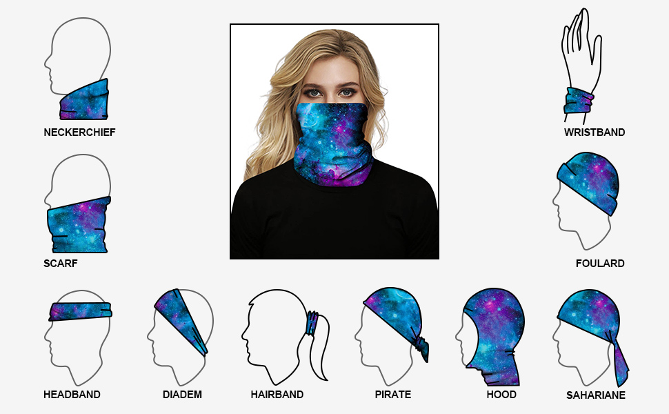 Rave Bandana Face Mask Dust Wind UV Sun, Seamless Neck Gaiter Tube Mask Headwear, Motorcycle Scarf