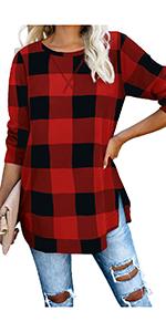 Long Sleeve Loose Pullover Tunic Tops Side Split Plain Shirts