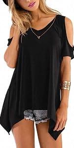 V Neck Cold Shoulder T Shirts