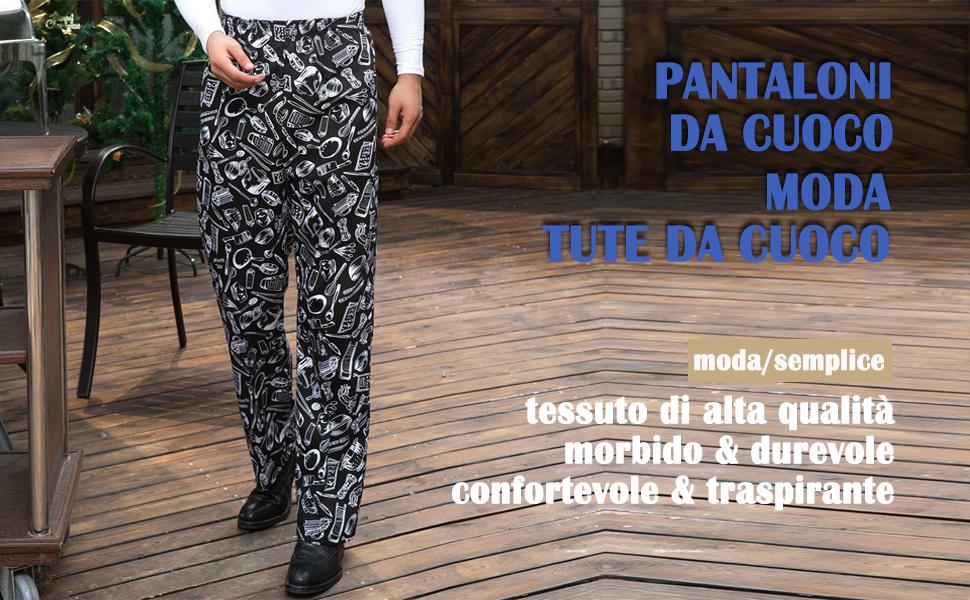 Nanxson Pantaloni da Cuoco da Uomo Hotel Kitchen Pantaloni da Lavoro Uniformi a Righe e Plaid CFM2004