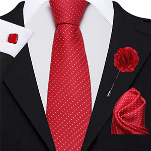 Men's Combo of Cotton Silk Necktie, Pocket Square and Lapel Pin Cufflinks(Red, Free Size)
