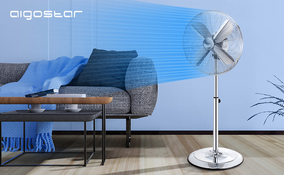 Aigostar Emery 33QRT - Ventilador de pie, oscilante 80º, 60W, estructura metálica, 4 aspas, altura regulable (110-135cm), 3 velocidades, cabezal ajustable. Silencioso. Diseño industrial.: Amazon.es: Hogar