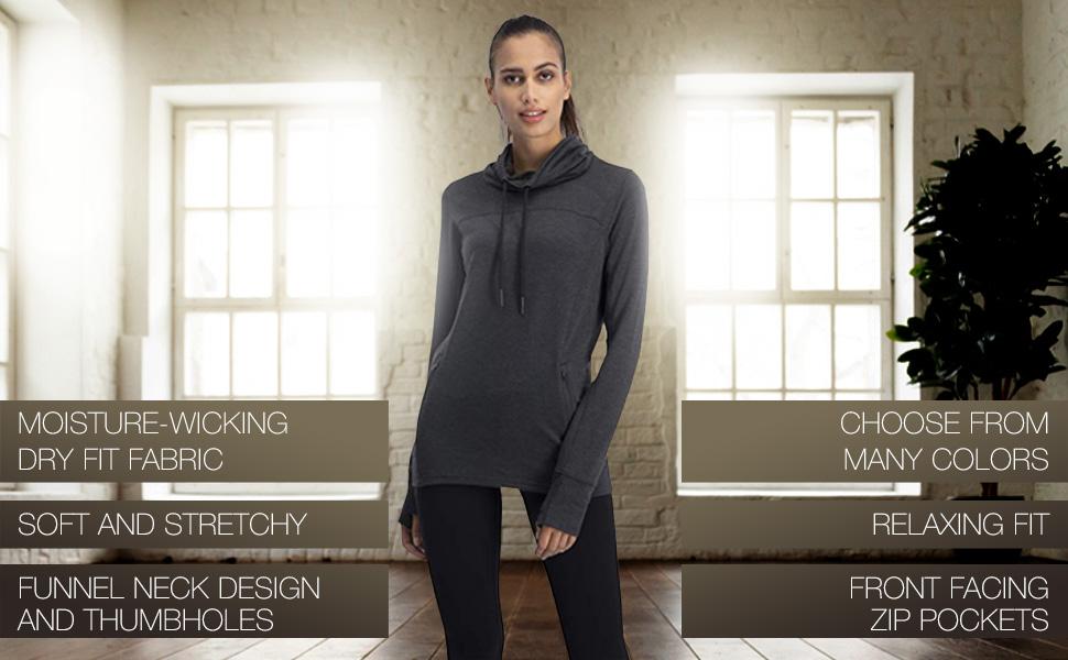 Dry Fit Pullover Sweatshirt for Women Fleece Cowl Neck Sweater Jacket Zip Pockets and Thumbholes