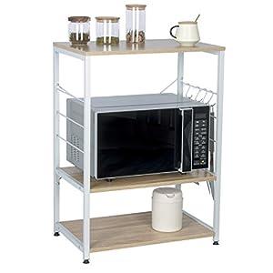 Étagère de Cuisine Étagère de Micro-Ondes en métal et Bois 60x39x74cm RGB9309hei