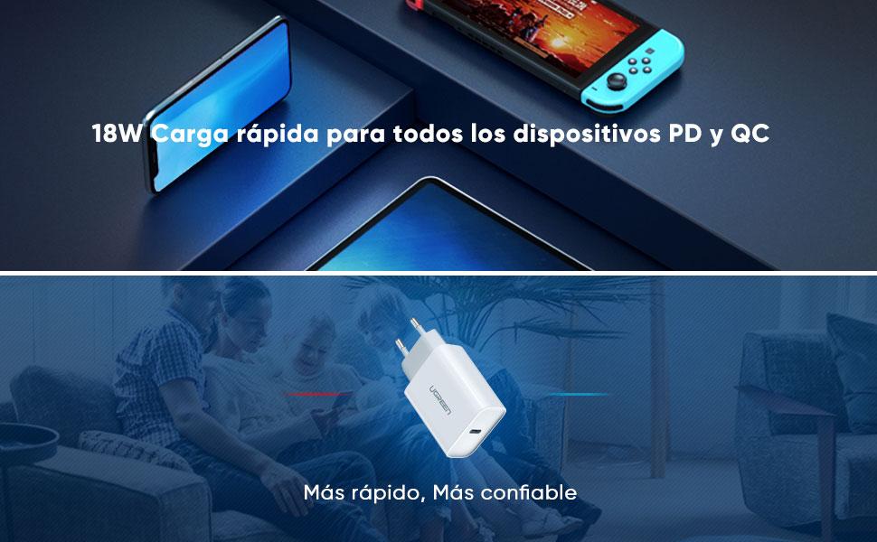 UGREEN Cargador USB C Power Delivery 3.0 Cargador Ultrarrapido 18W Carga de Red QC 4.0/QC 3.0 para iPad Pro 2018, iPhone 11, 11 Pro MAX, XR, X, XS, 8, ...