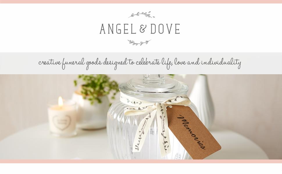 Angel Dove Glass Memory Jar 50 Remembrance Cards Beautiful Alternative To Funeral Condolence Book Makes A Wonderful Keepsake Amazon Co Uk Kitchen Home