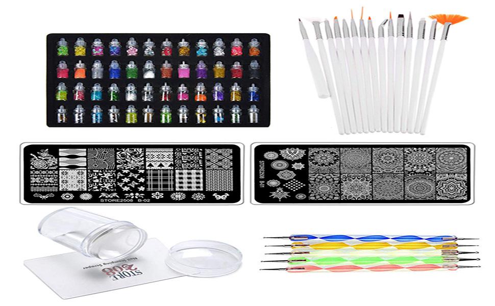 Store2508 Super Value Combo Kit of Nail Art Tools – 3d Nail Art, Nail Stamping Image