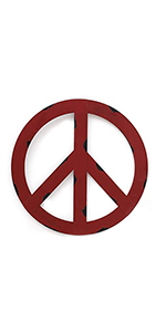 """Outdoors Metal Peace Sign Wall Decor 12"""" Rustic Hippie Plaque Hanging Metal Peace Sign"""
