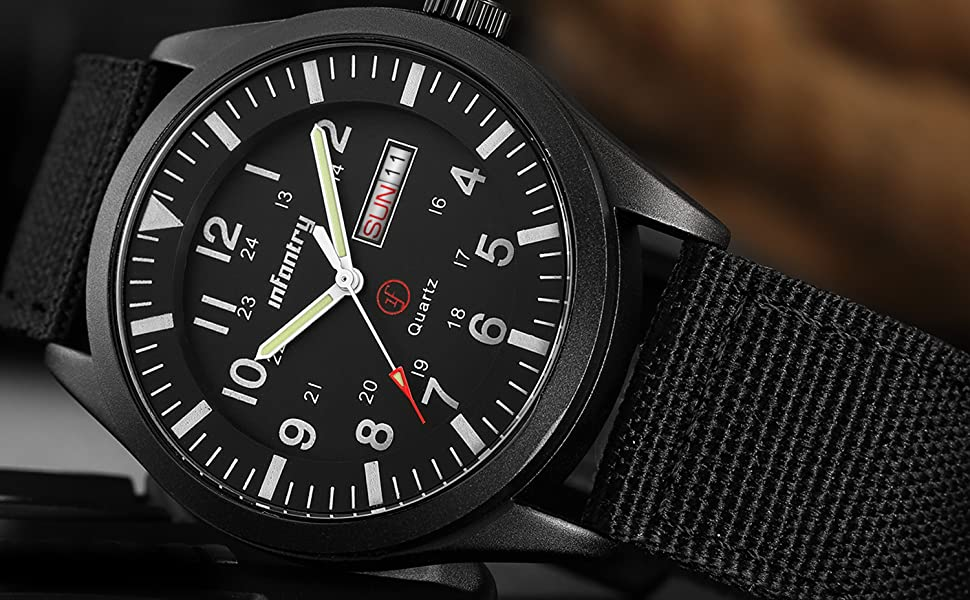 Mens Military Army Outdoor Sport Watch Field Tactical Black Wrist Watches Waterproof Work Nylon