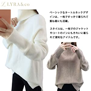 Turtleneck Knit Oversize Long, Long, Long, Large, Large, Rough, High Neck, Warm, Soft, Fluffy, Cute, Fashionable